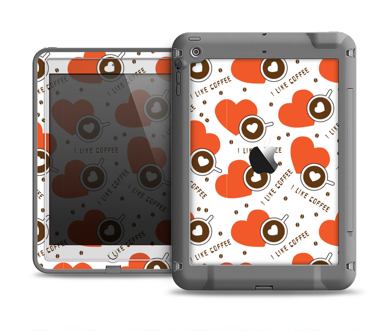 The Vector Red Hearts with Coffee Mugs Apple iPad Air LifeProof Fre Case Skin Set