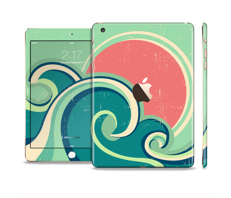 The Vector Retro Green Waves Full Body Skin Set for the Apple iPad Mini 3