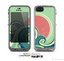 The Vector Retro Green Waves Skin for the Apple iPhone 5c LifeProof Case