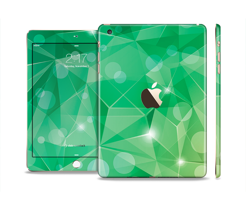 The Vector Shiny Green Crystal Pattern Full Body Skin Set for the Apple iPad Mini 3