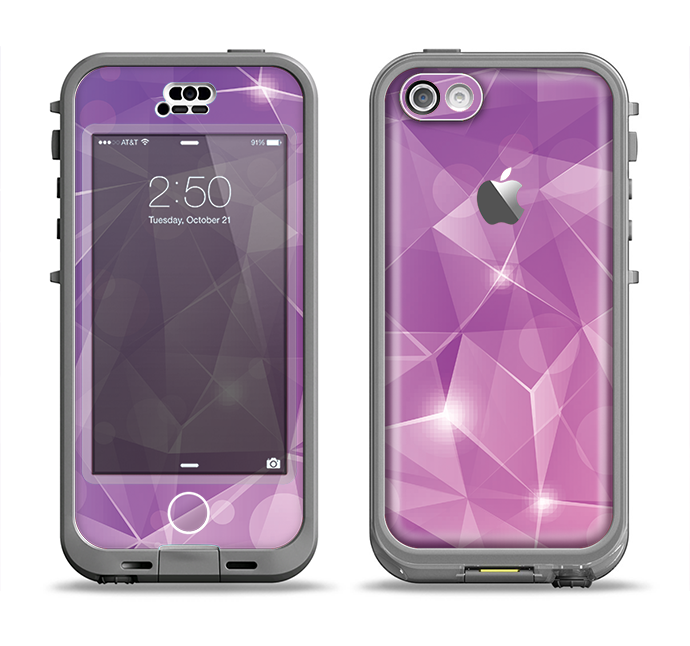 The Vector Shiny Pink Crystal Pattern Apple iPhone 5c LifeProof Nuud Case Skin Set