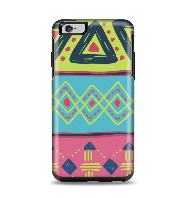 The Vector Sketched Yellow-Teal-Pink Aztec Pattern Apple iPhone 6 Plus Otterbox Symmetry Case Skin Set