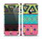 The Vector Sketched Yellow-Teal-Pink Aztec Pattern Skin Set for the Apple iPhone 5
