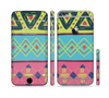 The Vector Sketched Yellow-Teal-Pink Aztec Pattern Sectioned Skin Series for the Apple iPhone 6