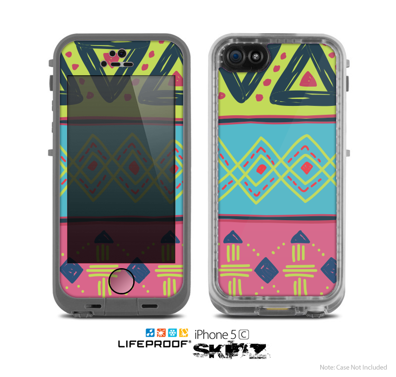 The Vector Sketched Yellow-Teal-Pink Aztec Pattern Skin for the Apple iPhone 5c LifeProof Case