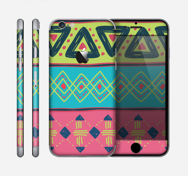 The Vector Sketched Yellow-Teal-Pink Aztec Pattern Skin for the Apple iPhone 6