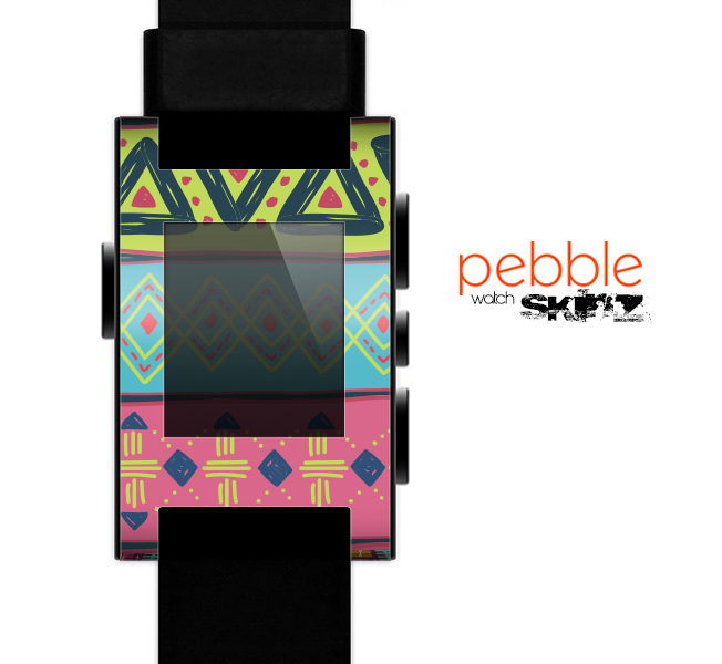 The Vector Sketched Yellow-Teal-Pink Aztec Pattern Skin for the Pebble SmartWatch