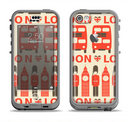 The Vector Tan and Red London Apple iPhone 5c LifeProof Nuud Case Skin Set