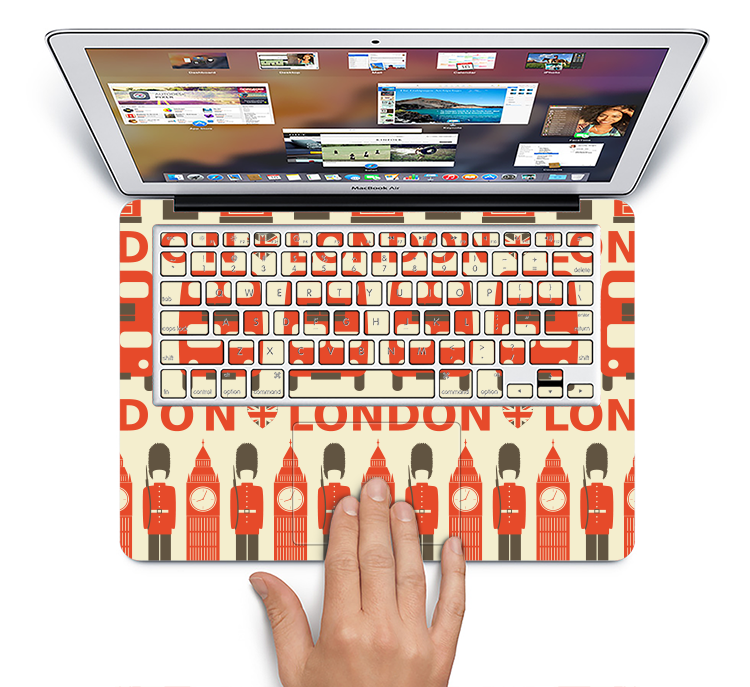 "The Vector Tan and Red London Skin Set for the Apple MacBook Pro 15"" with Retina Display"