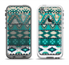 The Vector Teal & Green Aztec Pattern  Apple iPhone 5-5s LifeProof Fre Case Skin Set
