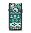 The Vector Teal & Green Aztec Pattern  Apple iPhone 6 Otterbox Commuter Case Skin Set