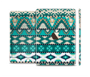The Vector Teal & Green Aztec Pattern Full Body Skin Set for the Apple iPad Mini 3
