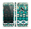 The Vector Teal & Green Aztec Pattern Skin Set for the Apple iPhone 5s
