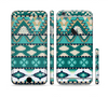 The Vector Teal & Green Aztec Pattern Sectioned Skin Series for the Apple iPhone 6