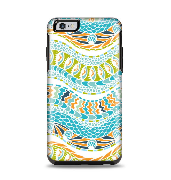 The Vector Teal & Green Snake Aztec Pattern Apple iPhone 6 Plus Otterbox Symmetry Case Skin Set