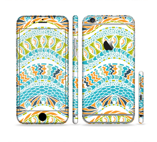 The Vector Teal & Green Snake Aztec Pattern Sectioned Skin Series for the Apple iPhone 6 Plus