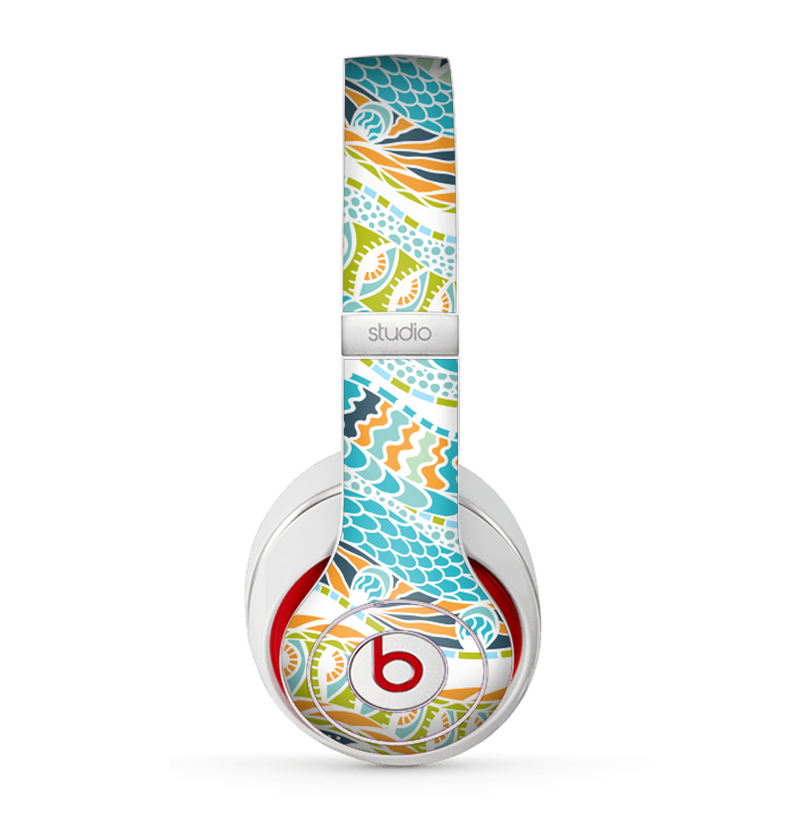 The Vector Teal & Green Snake Aztec Pattern Skin for the Beats by Dre Studio (2013+ Version) Headphones