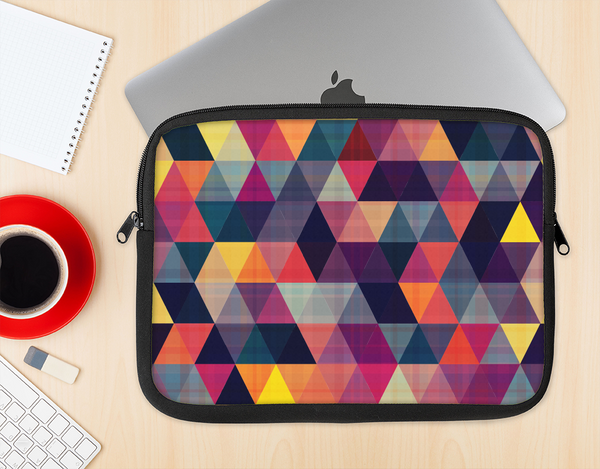 The Vector Triangular Coral & Purple Pattern Ink-Fuzed NeoPrene MacBook Laptop Sleeve