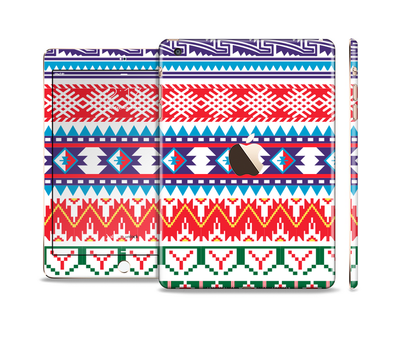 The Vector White-Blue-Red Aztec Pattern Full Body Skin Set for the Apple iPad Mini 3
