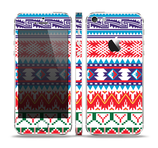 The Vector White-Blue-Red Aztec Pattern Skin Set for the Apple iPhone 5
