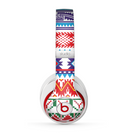 The Vector White-Blue-Red Aztec Pattern Skin for the Beats by Dre Studio (2013+ Version) Headphones