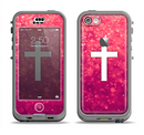 The Vector White Cross over Unfocused Pink Glimmer Apple iPhone 5c LifeProof Nuud Case Skin Set