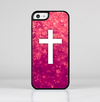 The Vector White Cross over Unfocused Pink Glimmer Skin-Sert for the Apple iPhone 5c Skin-Sert Case
