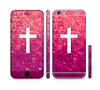 The Vector White Cross over Unfocused Pink Glimmer Sectioned Skin Series for the Apple iPhone 6