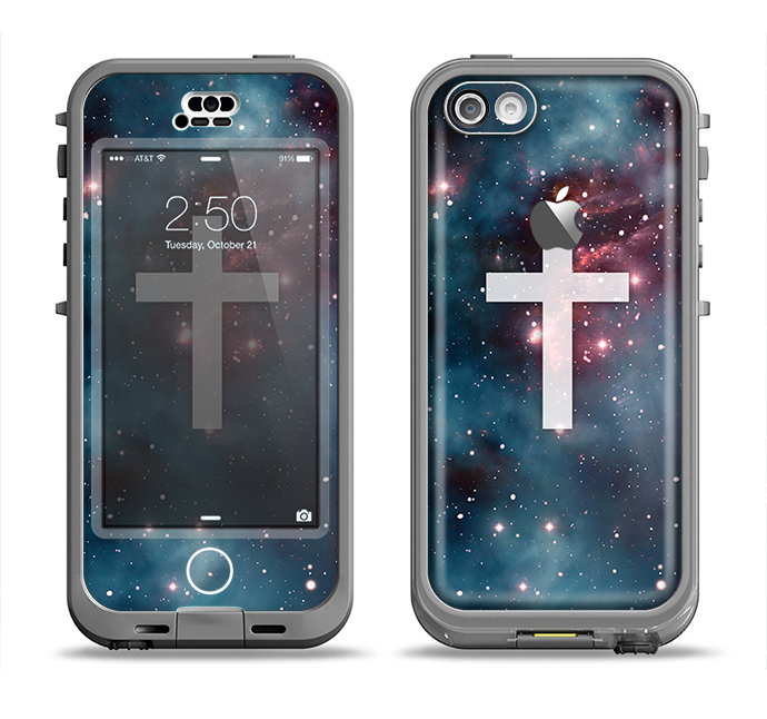 The Vector White Cross v2 over Bright Pink Nebula Space Apple iPhone 5c LifeProof Nuud Case Skin Set