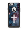 The Vector White Cross v2 over Bright Pink Nebula Space Apple iPhone 6 Otterbox Commuter Case Skin Set
