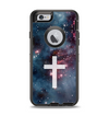 The Vector White Cross v2 over Bright Pink Nebula Space Apple iPhone 6 Otterbox Defender Case Skin Set