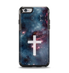 The Vector White Cross v2 over Bright Pink Nebula Space Apple iPhone 6 Otterbox Symmetry Case Skin Set