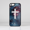 The Vector White Cross v2 over Bright Pink Nebula Space Skin-Sert for the Apple iPhone 5c Skin-Sert Case