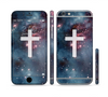 The Vector White Cross v2 over Bright Pink Nebula Space Sectioned Skin Series for the Apple iPhone 6 Plus