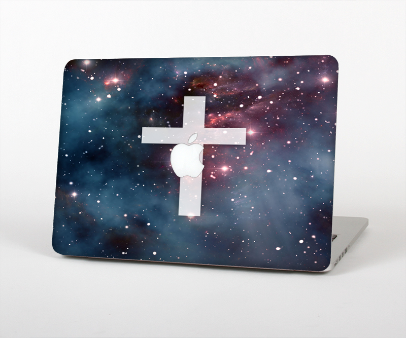 "The Vector White Cross v2 over Bright Pink Nebula Space Skin Set for the Apple MacBook Pro 15"" with Retina Display"