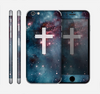 The Vector White Cross v2 over Bright Pink Nebula Space Skin for the Apple iPhone 6 Plus