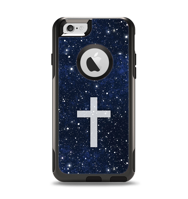 The Vector White Cross v2 over Bright Starry Sky Apple iPhone 6 Otterbox Commuter Case Skin Set