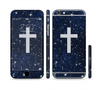The Vector White Cross v2 over Bright Starry Sky Sectioned Skin Series for the Apple iPhone 6 Plus