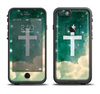 The Vector White Cross v2 over Cloudy Abstract Green Nebula Apple iPhone 6 LifeProof Fre Case Skin Set