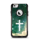 The Vector White Cross v2 over Cloudy Abstract Green Nebula Apple iPhone 6 Otterbox Commuter Case Skin Set