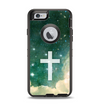 The Vector White Cross v2 over Cloudy Abstract Green Nebula Apple iPhone 6 Otterbox Defender Case Skin Set