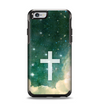 The Vector White Cross v2 over Cloudy Abstract Green Nebula Apple iPhone 6 Otterbox Symmetry Case Skin Set