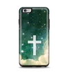 The Vector White Cross v2 over Cloudy Abstract Green Nebula Apple iPhone 6 Plus Otterbox Symmetry Case Skin Set