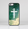 The Vector White Cross v2 over Cloudy Abstract Green Nebula Skin-Sert for the Apple iPhone 5c Skin-Sert Case