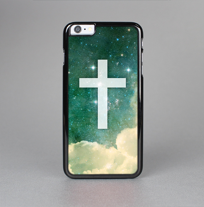 The Vector White Cross v2 over Cloudy Abstract Green Nebula Skin-Sert for the Apple iPhone 6 Skin-Sert Case