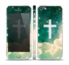 The Vector White Cross v2 over Cloudy Abstract Green Nebula Skin Set for the Apple iPhone 5