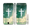 The Vector White Cross v2 over Cloudy Abstract Green Nebula Sectioned Skin Series for the Apple iPhone 6 Plus
