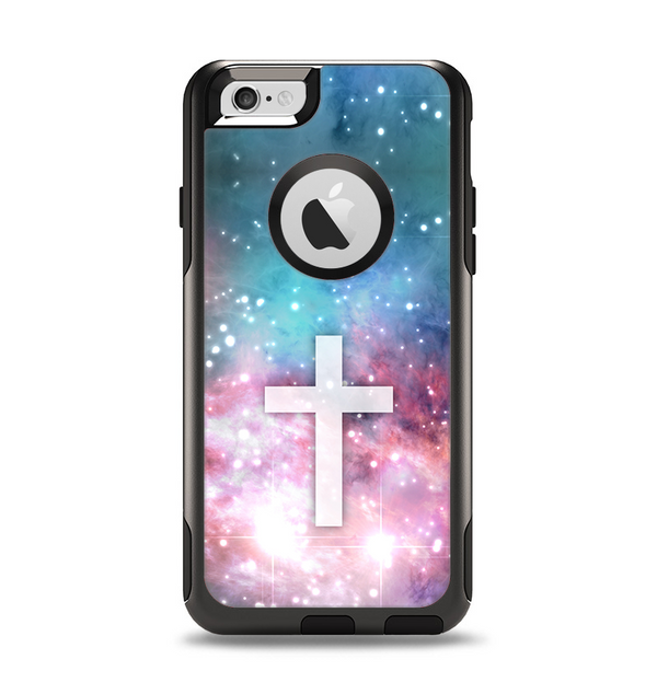 The Vector White Cross v2 over Colorful Neon Space Nebula Apple iPhone 6 Otterbox Commuter Case Skin Set
