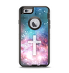 The Vector White Cross v2 over Colorful Neon Space Nebula Apple iPhone 6 Otterbox Defender Case Skin Set