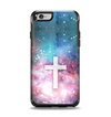 The Vector White Cross v2 over Colorful Neon Space Nebula Apple iPhone 6 Otterbox Symmetry Case Skin Set